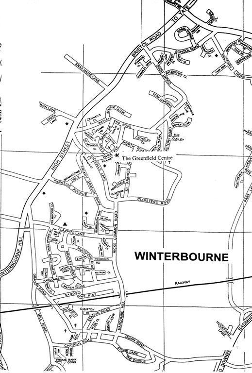 local street map of Winterbourne showing Greenfield Centre Parish Council offices